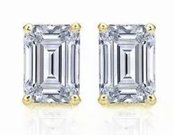 High Quality DEF VVS Emerald Cut Moissanite Diamonds Studs