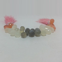 Natural Peach Grey White Moonstone Drops Briolette Beads