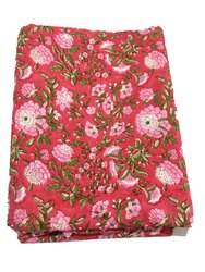 Vinayak Handicraft Cotton Hand Block Flower Design /Floral Design Fabric