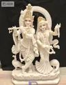 Marble Radha Krishna Statue With Gold Ornaments
