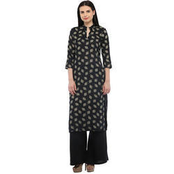 Cottinfab Women's Cotton Black Kurta with Solid Palazzo
