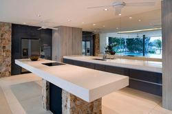 Sahara Color Corian Kitchen Countertop With Sink Thickness 12 Mm