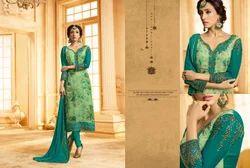 Brasso & Georgette Semi-Stitched Green Salwar Suit
