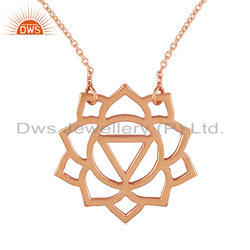Rose Gold Plated Sterling Silver Manipura Chakra Pendant Chain Necklace
