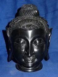 Black Marble Buddha Head Statue