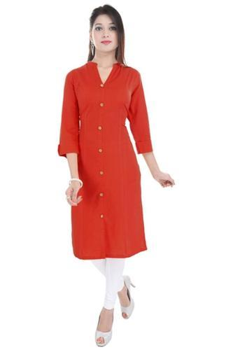1e17fb265b Solid Red Cotton V Neck Kurti, Size: S, M & L, Rs 225 /piece | ID ...