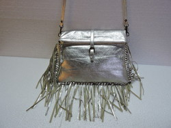 Fringe Silver Leather Sling Bag