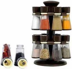 Premium Multipurpose Revolving Plastic Spice Storage Rack Jar Condiment Set-17 Peice Spice Rack