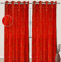 Red Printed Cotton Curtain