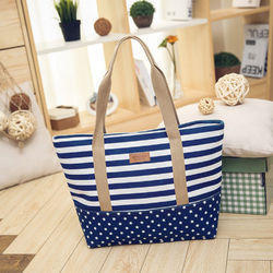 Canvas Bag With Stripes And Leather Handle