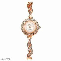 Rose Gold White Wedding Wear Ladies Designer Golden Wrist Watch