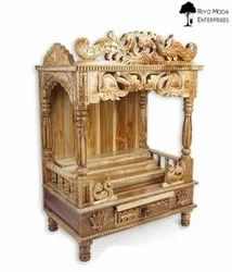 Brown Traditional Mayura - Peacock Design Hand Carved Teak Wood Temple for Home