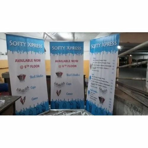 Printed Roll Up Standees, Size: 6 X 3 Feet, 5 X 2 Feet
