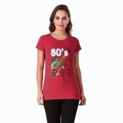 Ladies Round Printed T Shirt