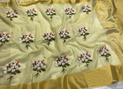 04ae455d8e Organza Embroidered Work Saree, Length: 6.3 M, Rs 1200 /piece | ID ...