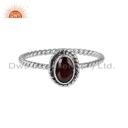 Natural Garnet Gemstone Designer Oxidized Silver Rings