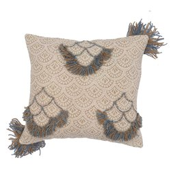 Printed Embroidered Fringe Decorative Cotton Cushion Cover