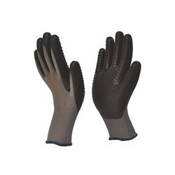PU Palm Coated Glove With Nitrile Dots