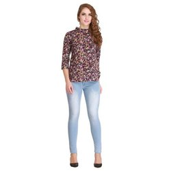 Snugg Fit Stretchable Ladies Knee High Light Blue Denim Jeans, Waist Size: 26-32