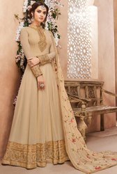 Beige Heavy Anarkali With Georgette Dupatta