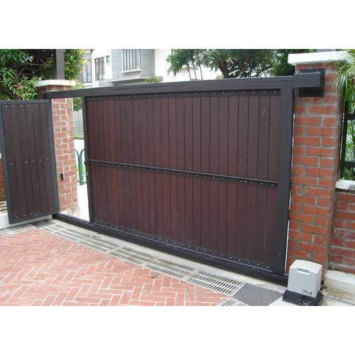 Brown mild steel automatic sliding gates rs 110000 piece - Sliding main gate design for home ...