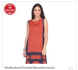 Multicolored Printed Sleeveless Kurta