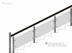 Brass railing for stairs