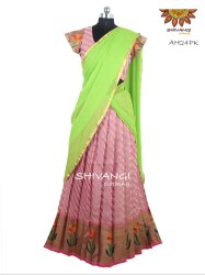 Shivangi Green Banaras Stripes Tulip Half / Langa Davani Saree, Hand Made, With blouse piece