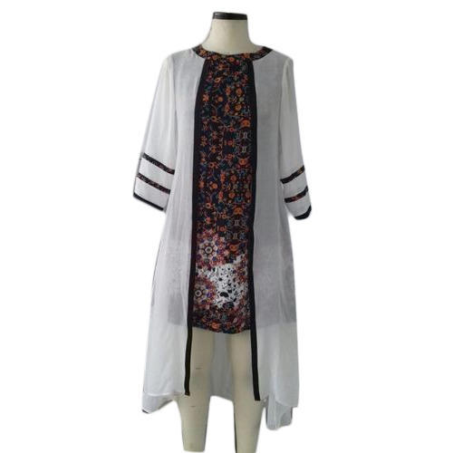 Ladies Cotton Printed Short Kurti with Shrug, Size: S, M & L