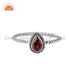 Garnet Gemstone Twisted 925 Silver Oxidized Rings Jewelry