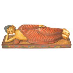 Wooden Painted Sleeping Buddha Statue