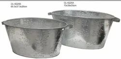 Galvanized Metal Tubs Set of 2 with Handle and Motif