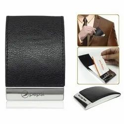 Black Steel And Synthetic Leather Card Holder