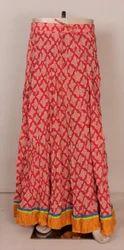 Hand Block Ladies Cotton Long Skirts