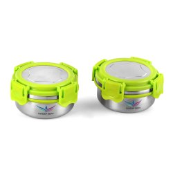KINSHIP INDIA Stainless Steel Smart Lock Tiffin/Lunch Bowl Box with Steel Lid ( Green)