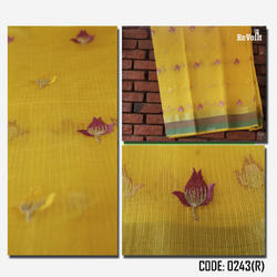Yellow Embroidered Saree, 6.3 M (with Blouse Piece)