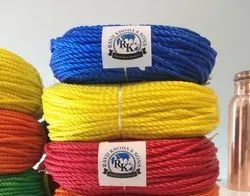 Multicolor Nylon 3-Strand Twisted HDPE Fishing Net Ropes, Packaging Type: PP Bag
