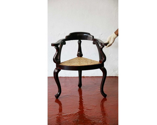 Antique Replica Anjili And Wild Rose Wood Corner Chair