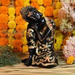Black and Golden Palm Buddha Statue