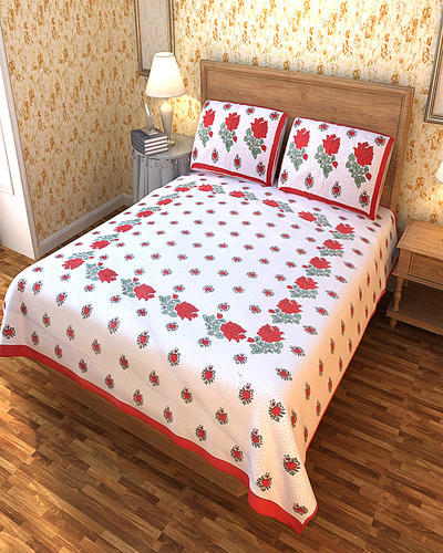 Cotton Printed Akshara Classic Design Beautiful Red Flower Print. Double  Bedsheets