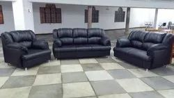 Modern Black Leather Sofa Set At Rs