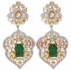 Emerald & Diamond Polki Earrings, Packaging Type: Box