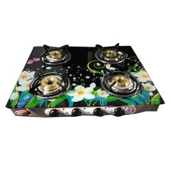 Satvik Surya Stainless Steel And Glass 4 Burner Gas Stove, Packaging Type: Box