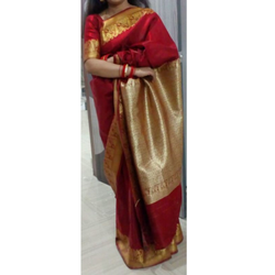 Pallu and Boarder Work Banarasi Plain Satin Saree, Packaging Type: Plastic Bag