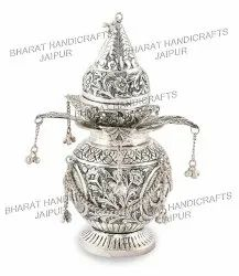 Silver Plated Kalash With Narial