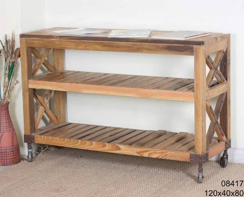 Brown Rustic Wooden Rectangular Side Table