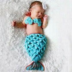 Babymoon (Set Of 3)Baby Mermaid Designer Crochet Clothing & Beautiful Costume,Baby Photography Props