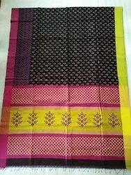 Designer Block Printed Silk Saree
