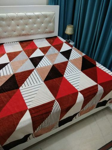 Charming Red And Blue Super Soft Velvet Touch Double Bed Sheet
