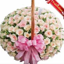 100 White Roses Basket Val